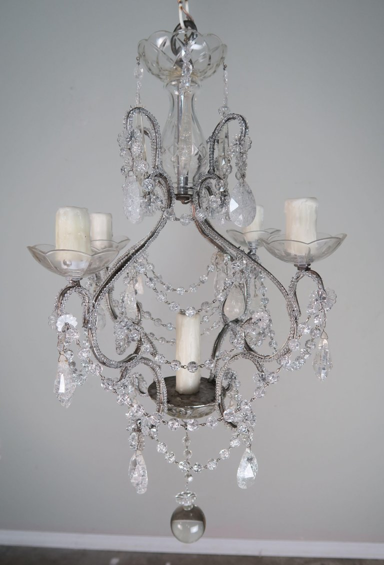 Five-Light Rock Crystal Beaded Chandelier1