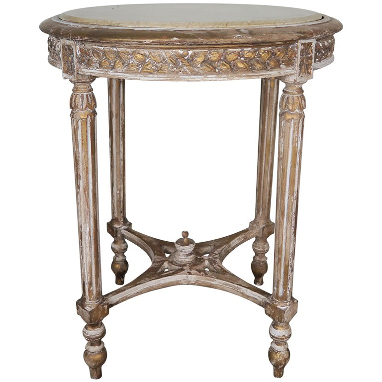French Louis XVI Style Side Table with Marble Top