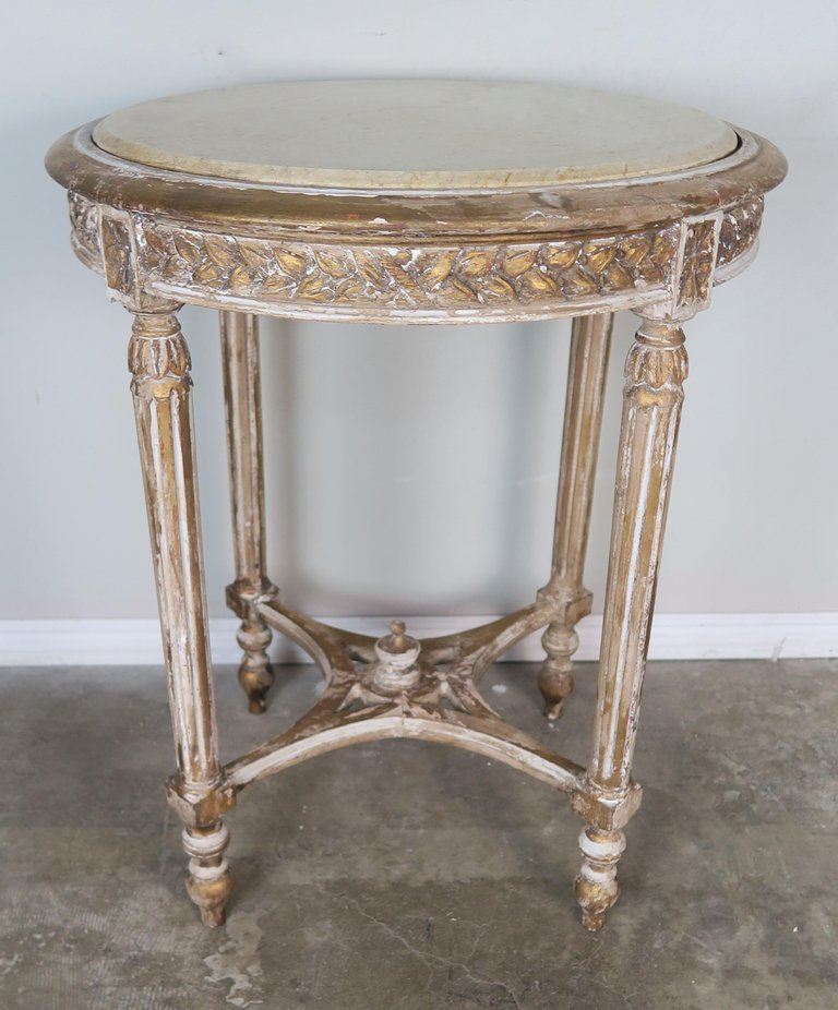 French Louis XVI Style Side Table with Marble Top2