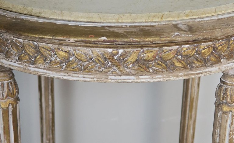 French Louis XVI Style Side Table with Marble Top4