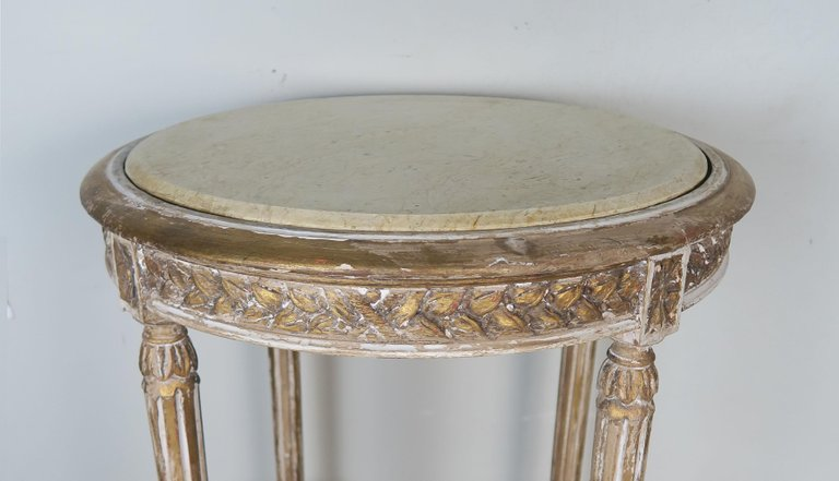 French Louis XVI Style Side Table with Marble Top5