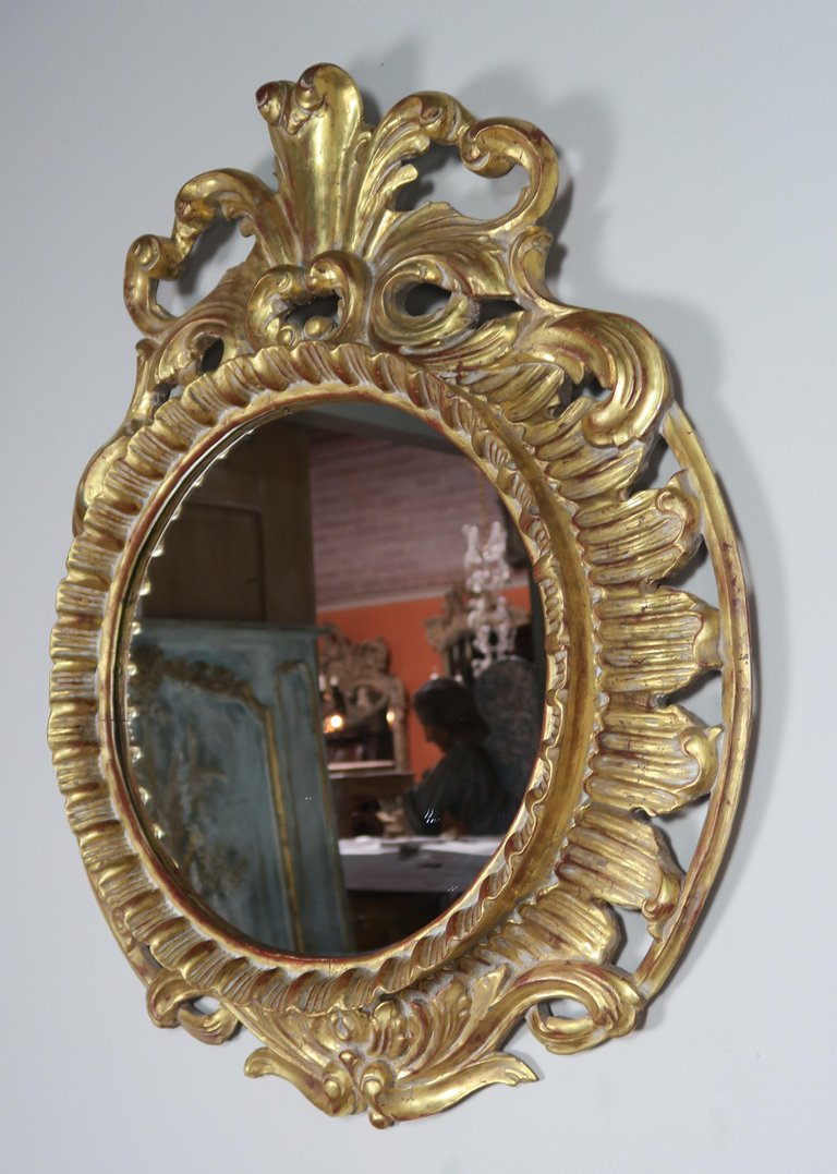 French Rococo Style Gold Leaf Carved Mirror1