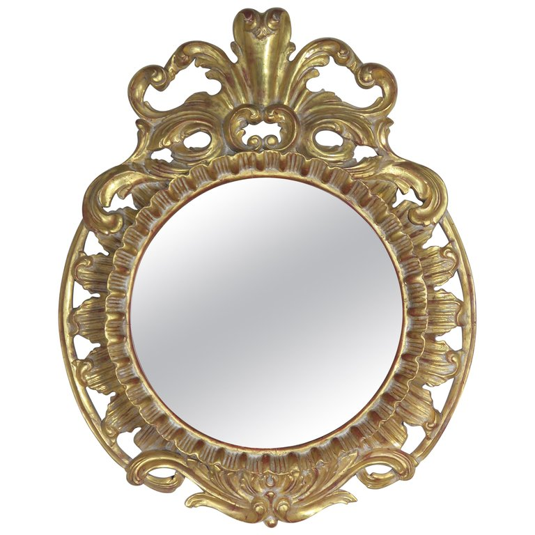 French Rococo Style Gold Leaf Carved Mirroraa
