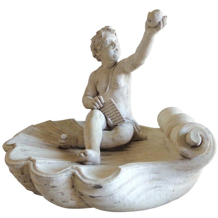 Monumental Garden Cherub Sitting on Large Shell with Apple