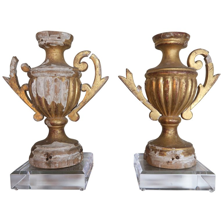 Pair of 19th Century Italian Giltwood Urn Fragments on Lucite Bases