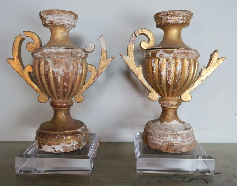 Pair of 19th Century Italian Giltwood Urn Fragments on Lucite Bases1