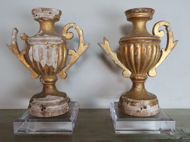 Pair of 19th Century Italian Giltwood Urn Fragments on Lucite Bases2
