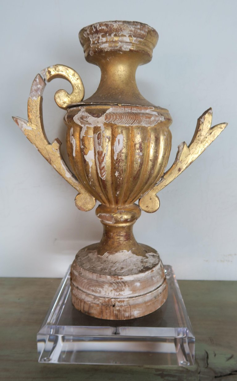 Pair of 19th Century Italian Giltwood Urn Fragments on Lucite Bases3