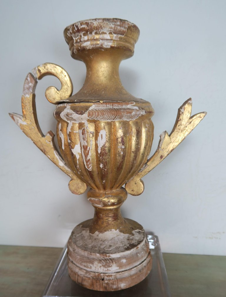 Pair of 19th Century Italian Giltwood Urn Fragments on Lucite Bases56