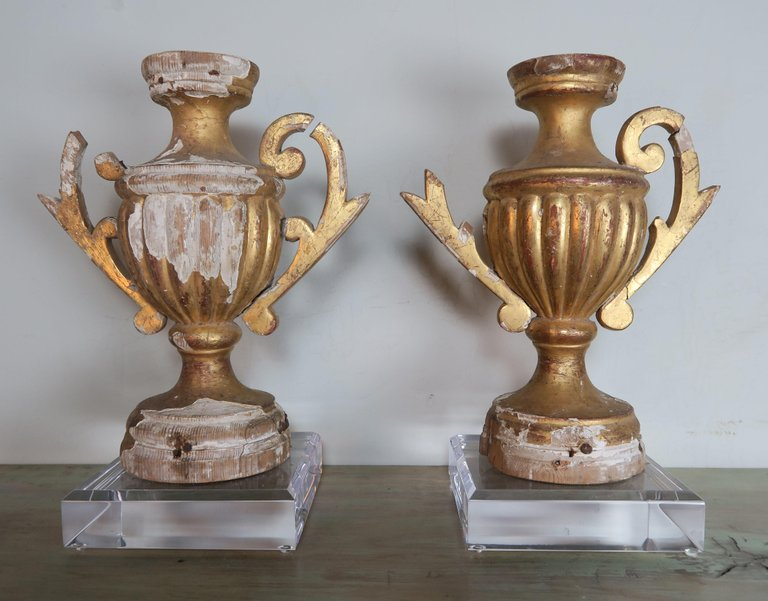 Pair of 19th Century Italian Giltwood Urn Fragments on Lucite Bases8