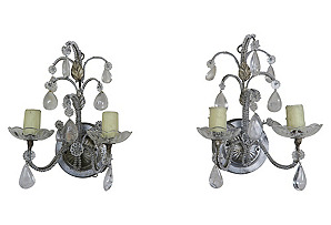 Pair of Silvered Rock Crystal Sconces