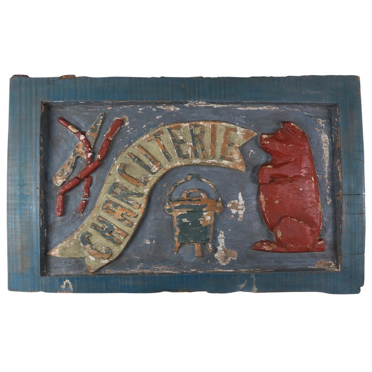 19th Century Painted Charcuterie Sign $3,500