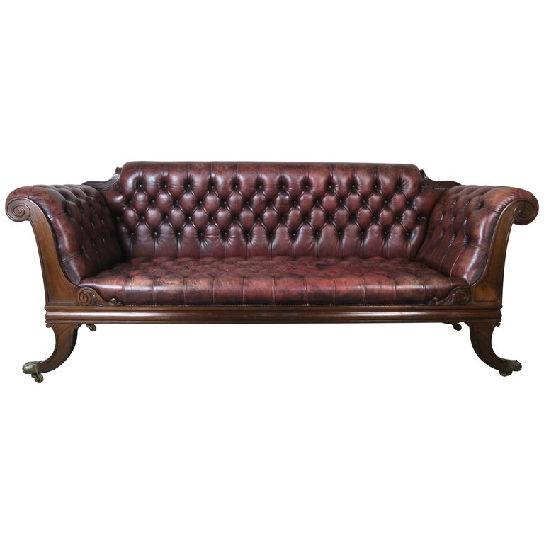 English Regency Leather Tufted Sofa, circa 1900 $7,500