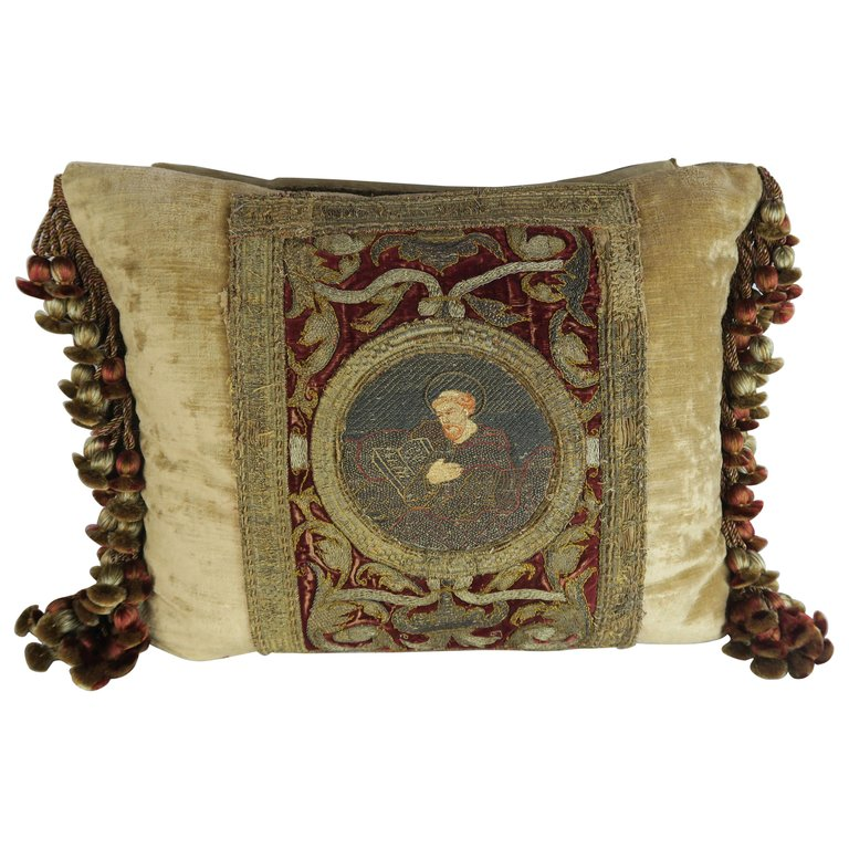 Pair of 18th Century Metallic Embroidered Velvet Pillows
