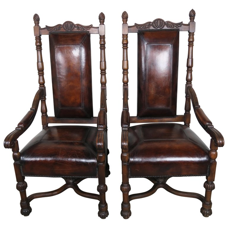 Pair of English Mahogany Armchairs w: Leather Upholstery