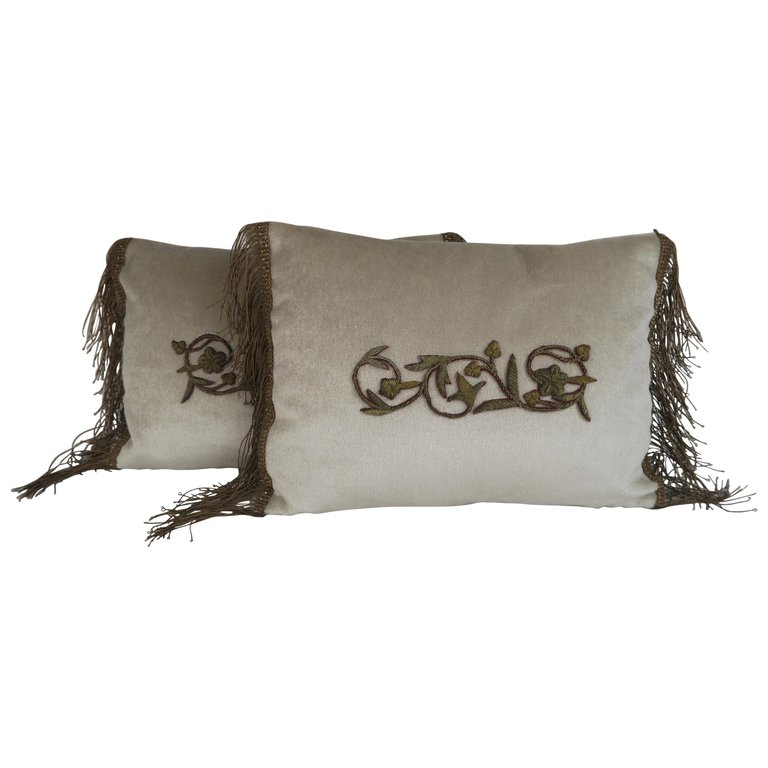 Pair of Pillows with Metallic Appliques and Trim