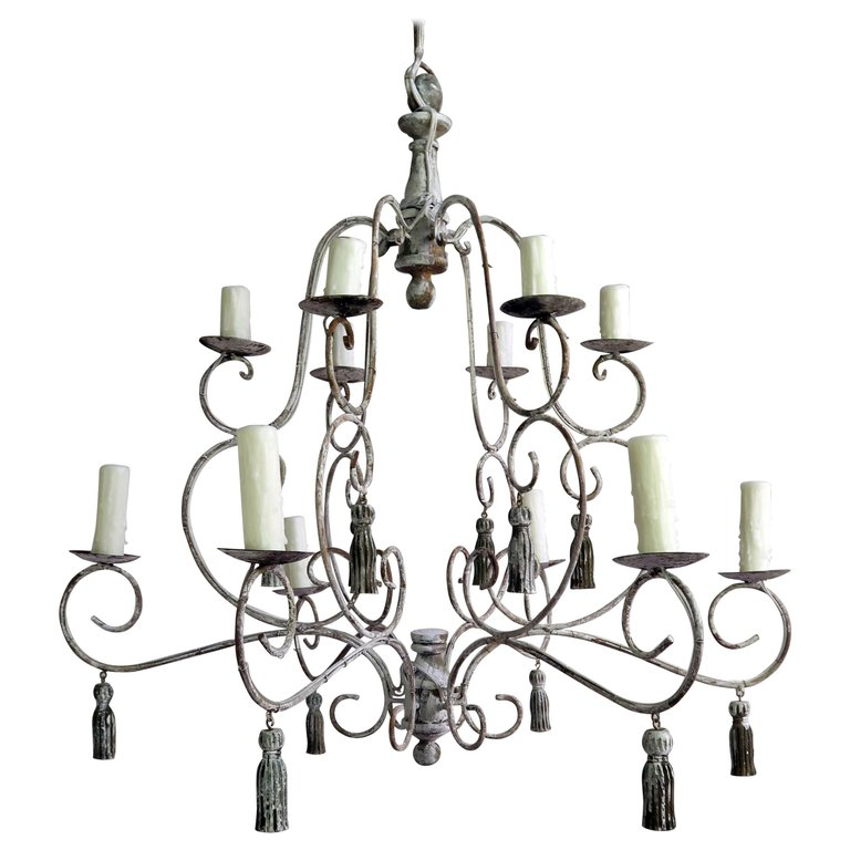 Twelve-Light French Painted Chandelier with Tassels $2,800