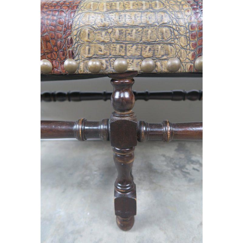 english-walnut-six-legged-embossed-leather-bench-1320