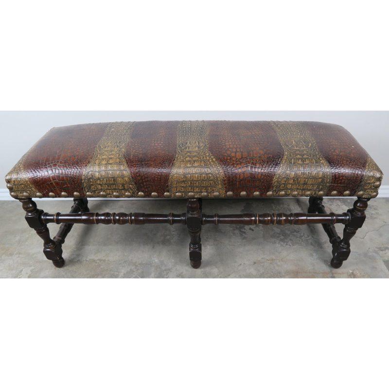 english-walnut-six-legged-embossed-leather-bench-1730
