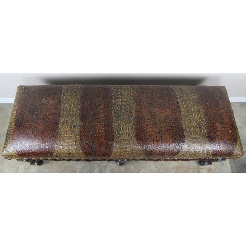 english-walnut-six-legged-embossed-leather-bench-1990
