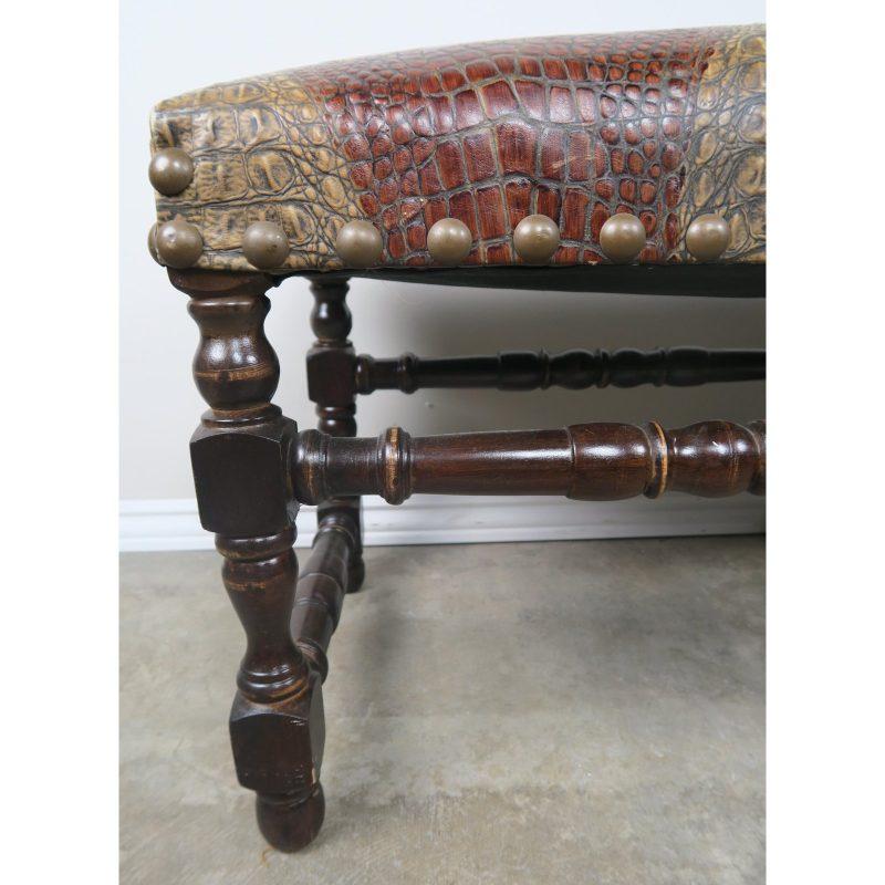 english-walnut-six-legged-embossed-leather-bench-3857