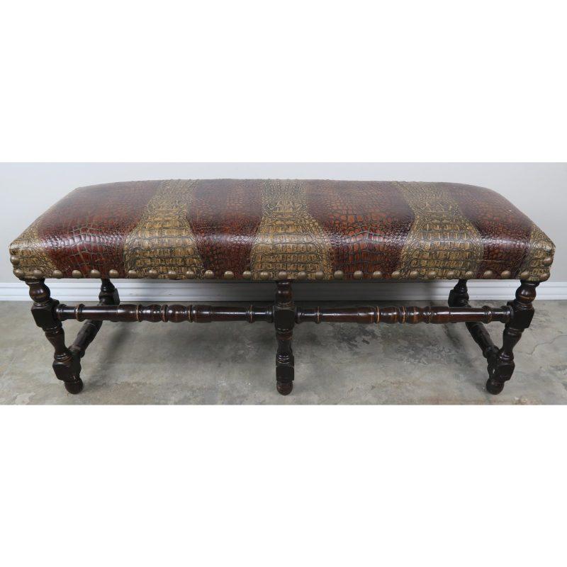 english-walnut-six-legged-embossed-leather-bench-6282