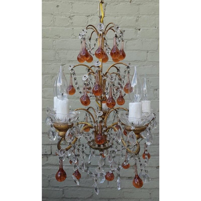 six-light-amber-colored-macaroni-beaded-chandelier-0066