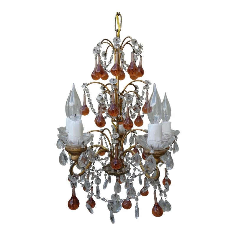 six-light-amber-colored-macaroni-beaded-chandelier-1439