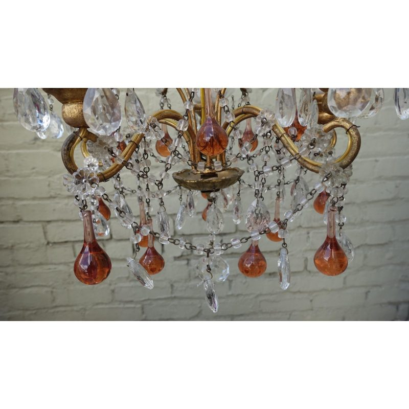 six-light-amber-colored-macaroni-beaded-chandelier-9359