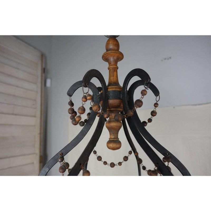 spanish-wrought-iron-and-wood-beaded-chandelier-4016