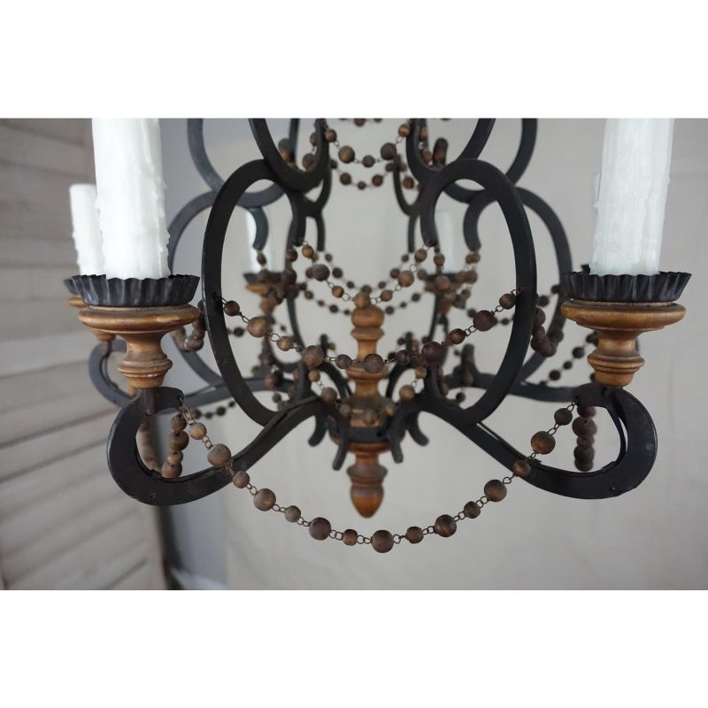 spanish-wrought-iron-and-wood-beaded-chandelier-4490