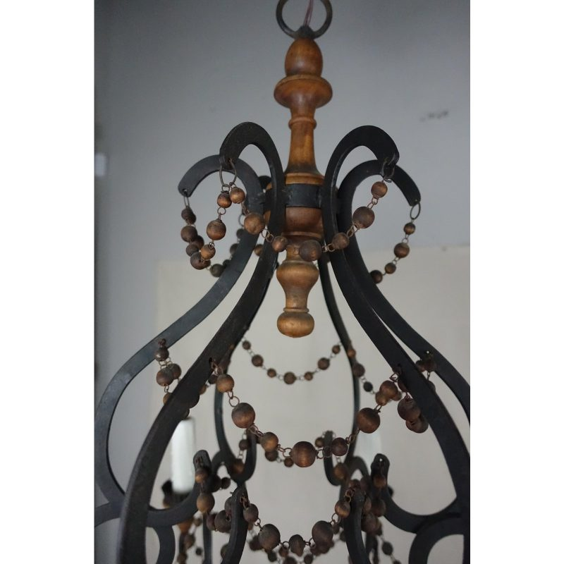 spanish-wrought-iron-and-wood-beaded-chandelier-7992