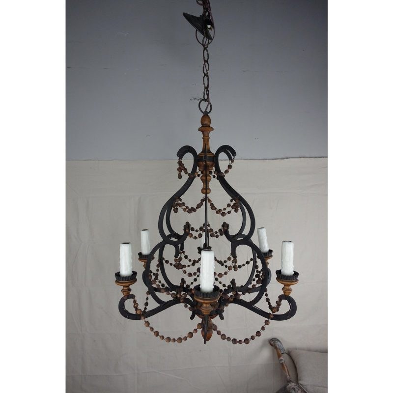 spanish-wrought-iron-and-wood-beaded-chandelier-9674
