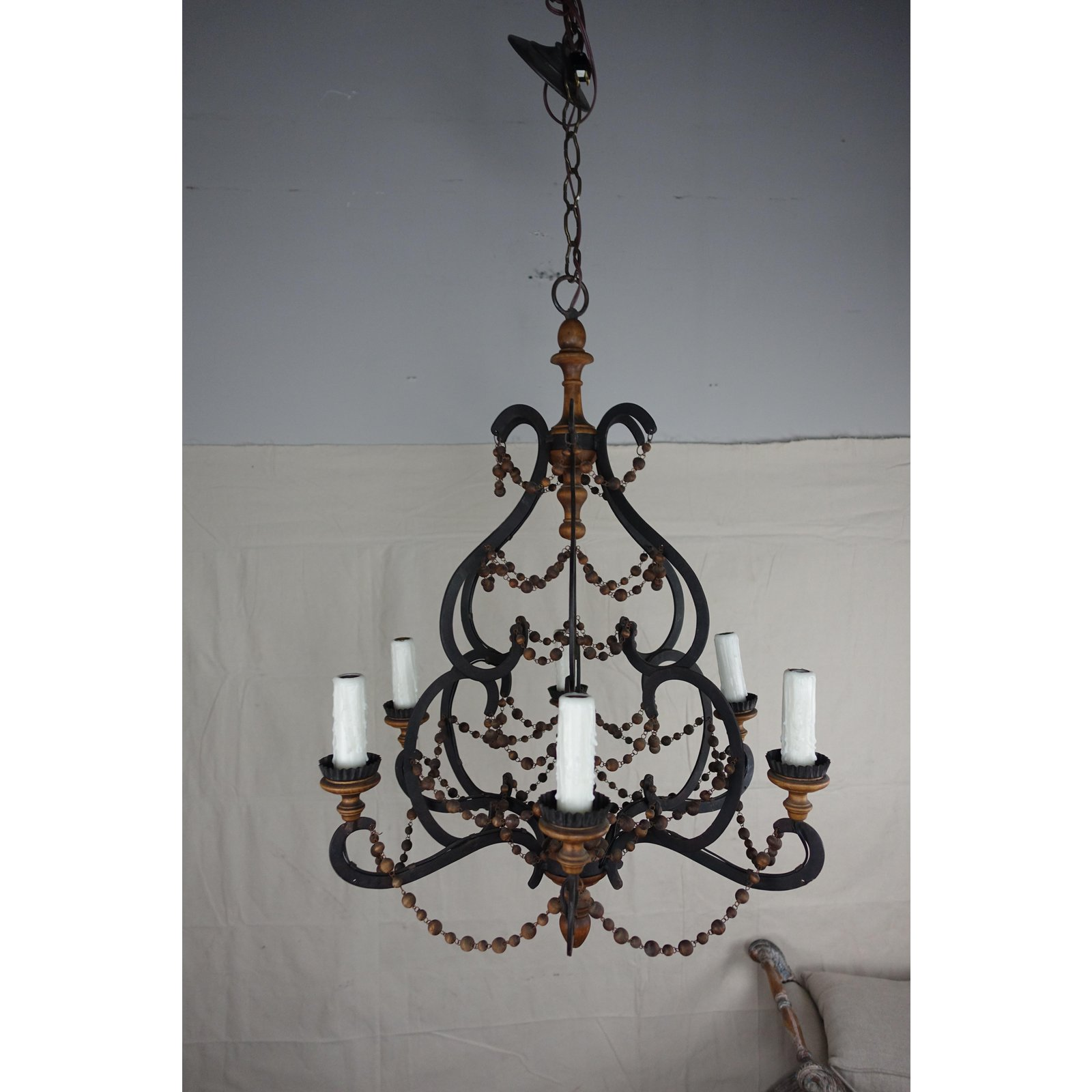 Spanish Wrought Iron Wood Beaded Chandelier Melissa Levinson Antiques