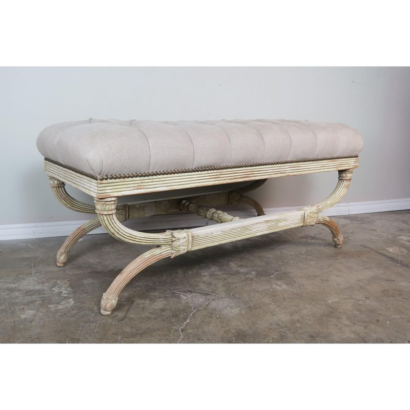 swedish-carved-painted-bench-w-linen-upholstery-0995