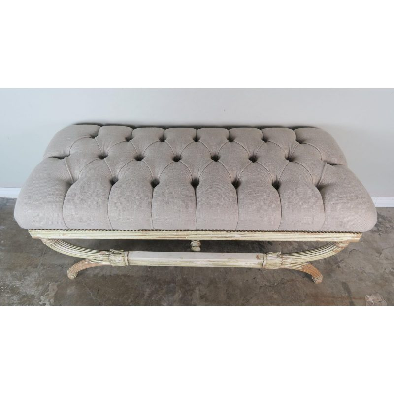 swedish-carved-painted-bench-w-linen-upholstery-6058