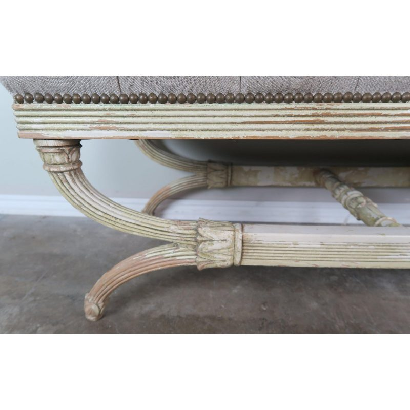 swedish-carved-painted-bench-w-linen-upholstery-6501