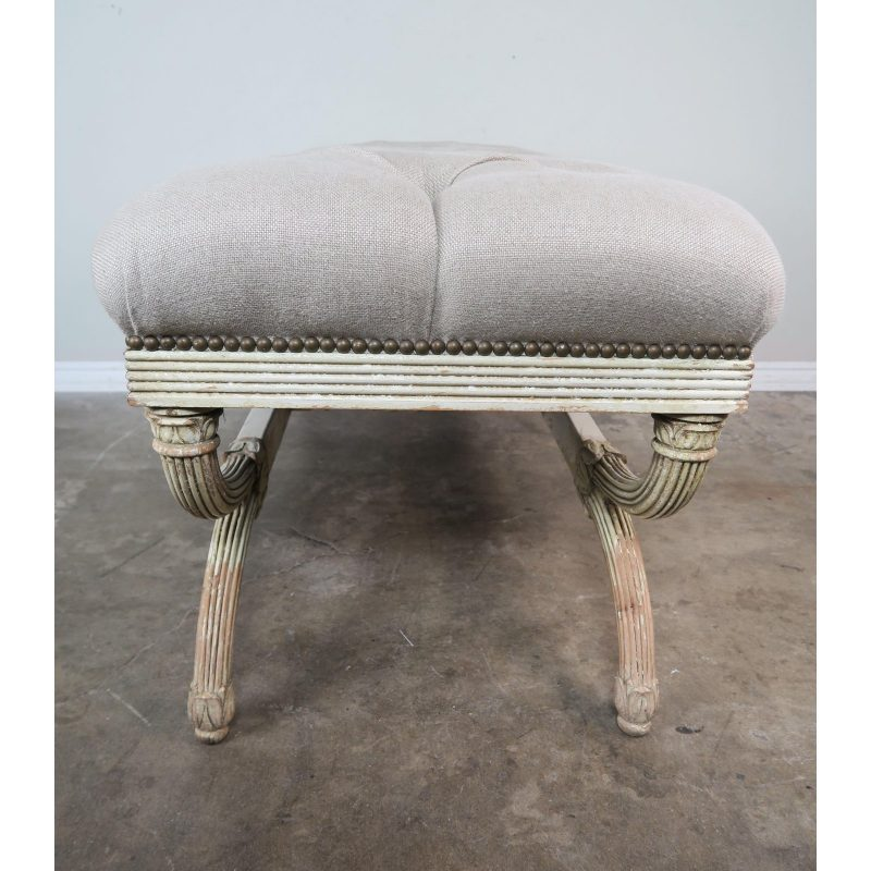 swedish-carved-painted-bench-w-linen-upholstery-6705