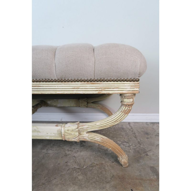 swedish-carved-painted-bench-w-linen-upholstery-8768
