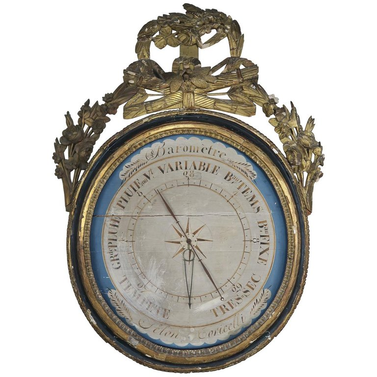 19th Century French Painted and Gilt Wood Barometer 'Barometre' $2,800
