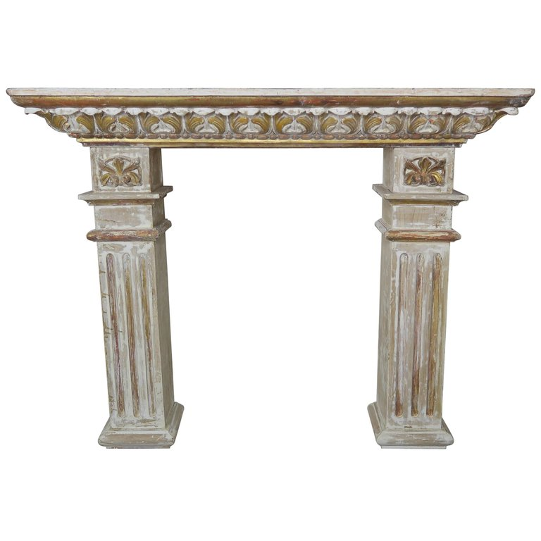 19th Century Italian Painted and Parcel Gilt Fireplace Mantel $5,800