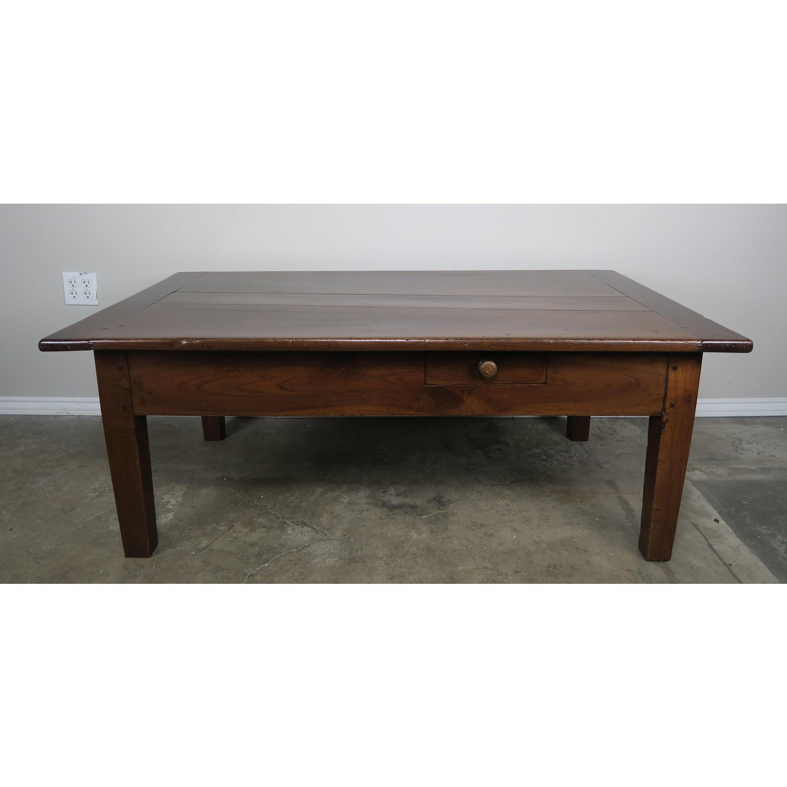 19th C English Walnut Coffee Table W Drawers