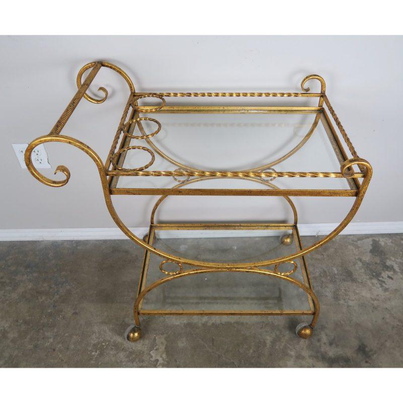 2-shelf-gilt-metal-glass-serving-cart-on-wheels-0121