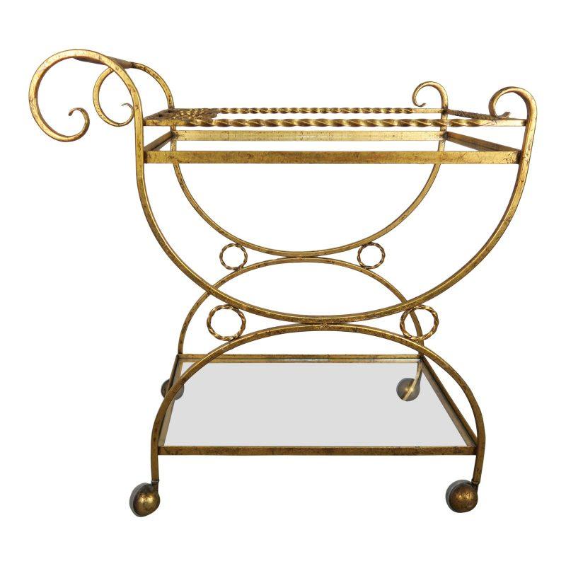 2-shelf-gilt-metal-glass-serving-cart-on-wheels-4401