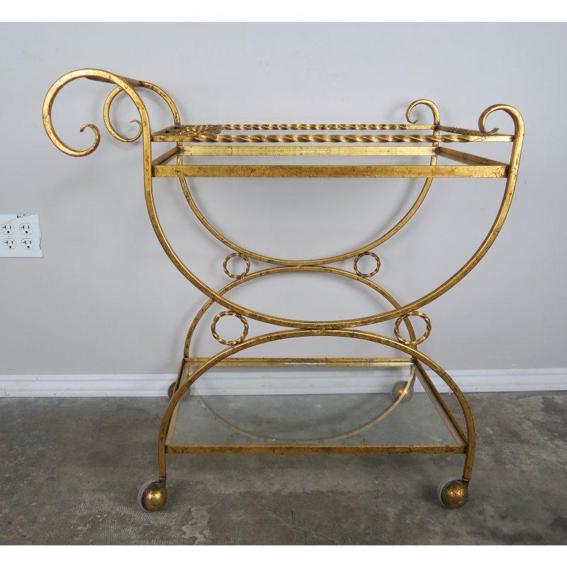 2-shelf-gilt-metal-glass-serving-cart-on-wheels-4918