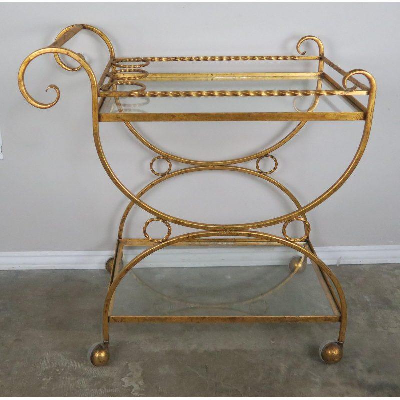 2-shelf-gilt-metal-glass-serving-cart-on-wheels-6499