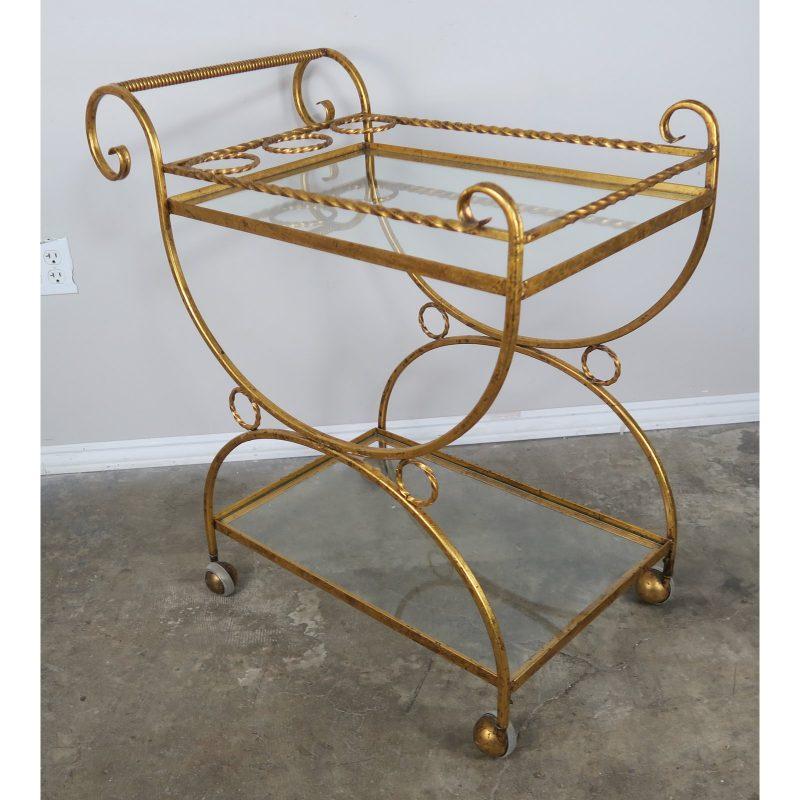 2-shelf-gilt-metal-glass-serving-cart-on-wheels-6765