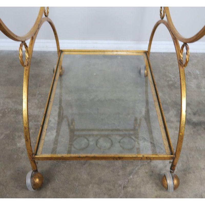 2-shelf-gilt-metal-glass-serving-cart-on-wheels-8160