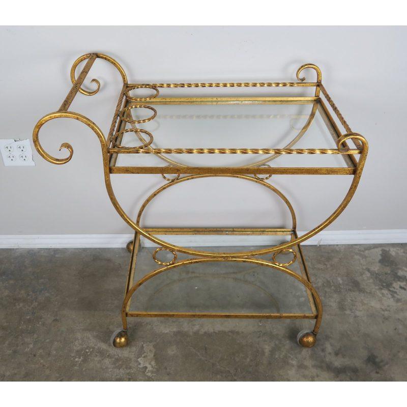2-shelf-gilt-metal-glass-serving-cart-on-wheels-8168