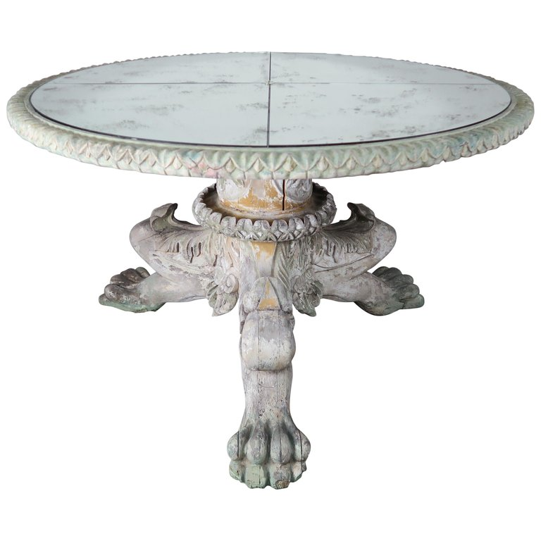 Italian Style Painted Lion Paw Tripod Table with Mirrored Top $8,500